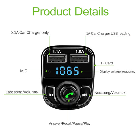 Image of Bluetooth FM Transmitter MP3 Player Dual USB Charger Car Kit