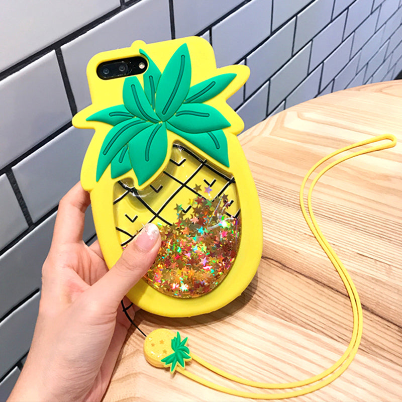Cute Pineapple Liquid Stars Phone Case