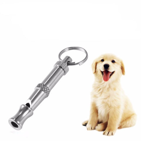 Image of Pet Training Stainless Steel Whistle Key Chain
