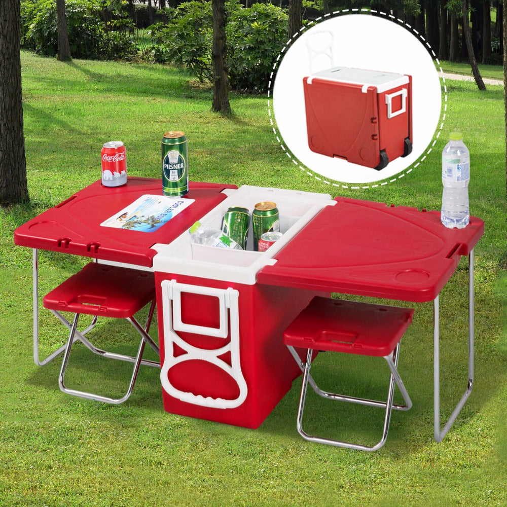 Multi Function Rolling Cooler Outdoor Dining Set