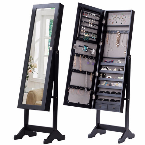 Image of Standing Lockable Mirrored Jewelry Cabinet