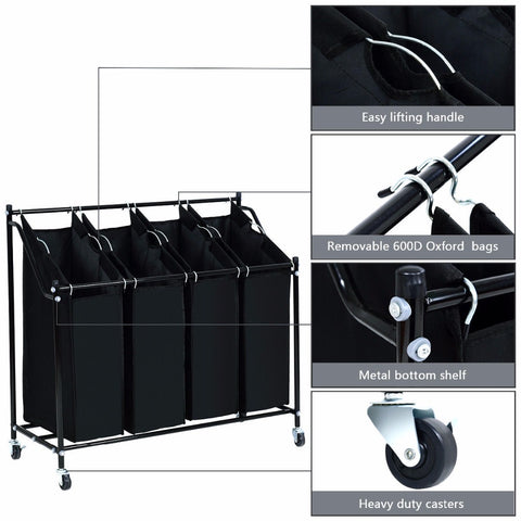 Rolling Laundry 4 Bag Sorter Cart