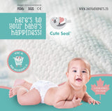 Cute Seal - Canadian Premium Baby Diapers - LARGE - 46 Pcs (Velcro Type) - L