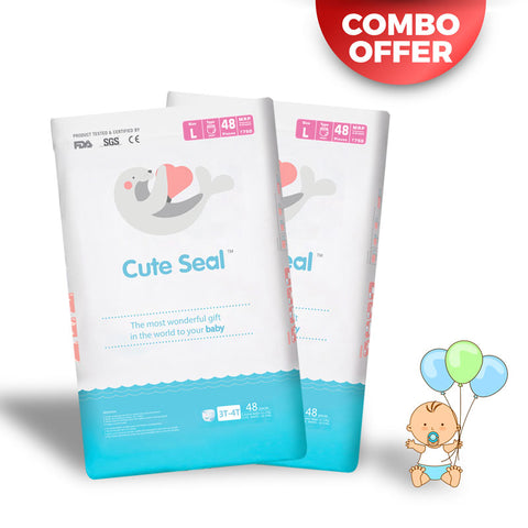 Discounted Diaper India Online sale Cute Seal COMBO OFFER! Pack of 2 - Canadian Premium Baby Diapers - Large - 48pcs (Pant Type / Pull-ups Type)