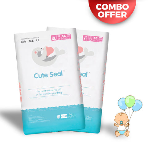 Discounted Diaper India Online sale Cute Seal COMBO OFFER! Pack of 2 - Canadian Premium Baby Diapers - Extra Large - 44pcs (Pant Type / Pull-ups Type)