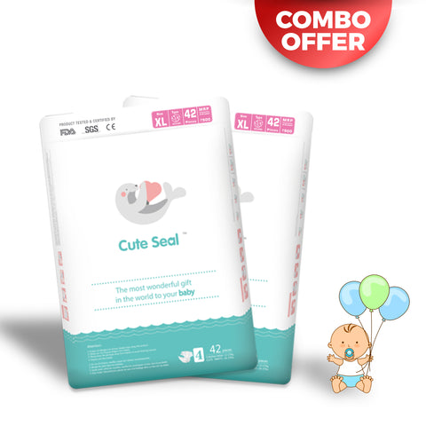 Cute Seal COMBO OFFER! Pack of 2 - Canadian Premium Baby Diapers - Extra Large - 42 Pcs (Velcro Type) - XL