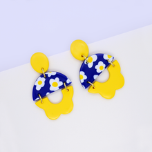 Load image into Gallery viewer, Summer floral statement dangle earrings with daisy flower motif pattern in bright yellow and blue color