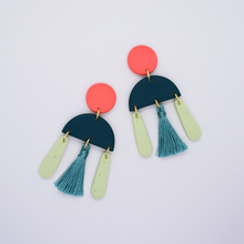 Load image into Gallery viewer, Polymer clay minimal drop dangle tassel earrings in orange coral, teal dark green turquoise color. Elegant, avant-garde, luxe and boho inspired earrings.