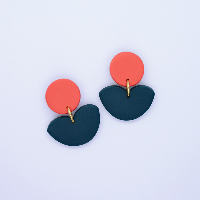 Polymer clay floral drop dangle earrings in orange coral and dark green turquoise color. Simple, minimal and basic flower shape earrings for everyday wear.