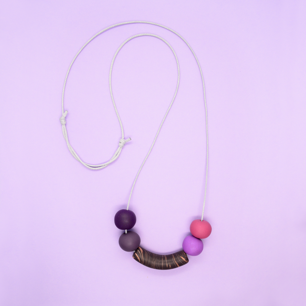 Adjustable cord necklace with polymer clay chunky beads in purple hues