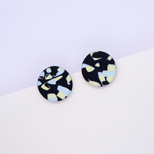Load image into Gallery viewer, Large round stud earrings with modern speckle pattern in black and pastel colors made of super lightweight polymer clay.
