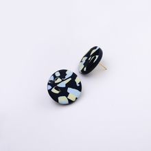 Load image into Gallery viewer, Easy to wear polymer clay big round studs with contemporary speckle pattern in black and pastel colors.