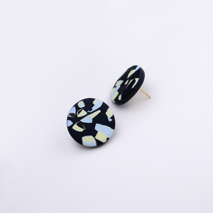 Easy to wear polymer clay big round studs with contemporary speckle pattern in black and pastel colors.
