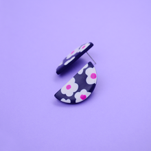 Load image into Gallery viewer, Polymer clay half moon shape studs earring with daisy motif floral pattern in navy and pink purple fuchsia color. Easy to wear everyday and super lightweight.