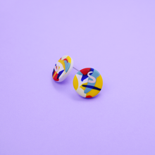 Load image into Gallery viewer, Polymer clay stud earrings with pop color graphics motif. Modern, playful and colorful. Super lightweight earrings.