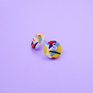 Polymer clay stud earrings with pop color graphics motif. Modern, playful and colorful. Super lightweight earrings.
