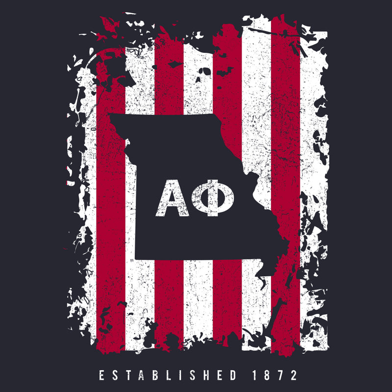 Alpha Phi Vintage Red White & Blue Design