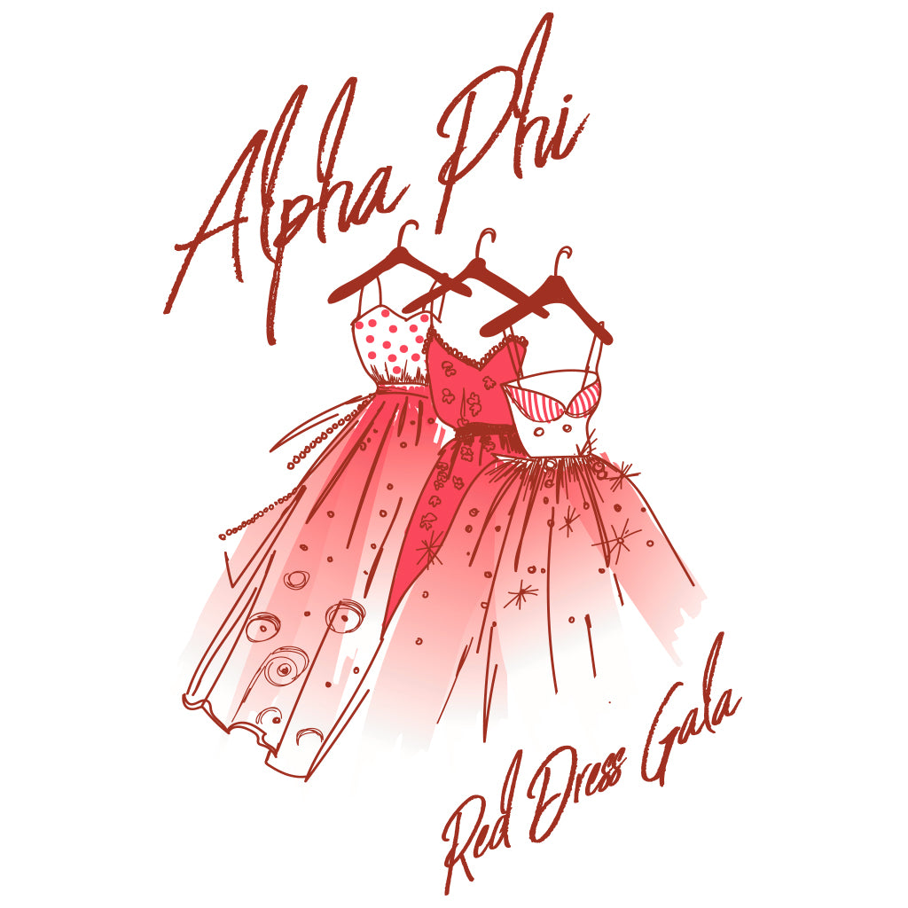 Alpha Phi Red Dress Gala Design