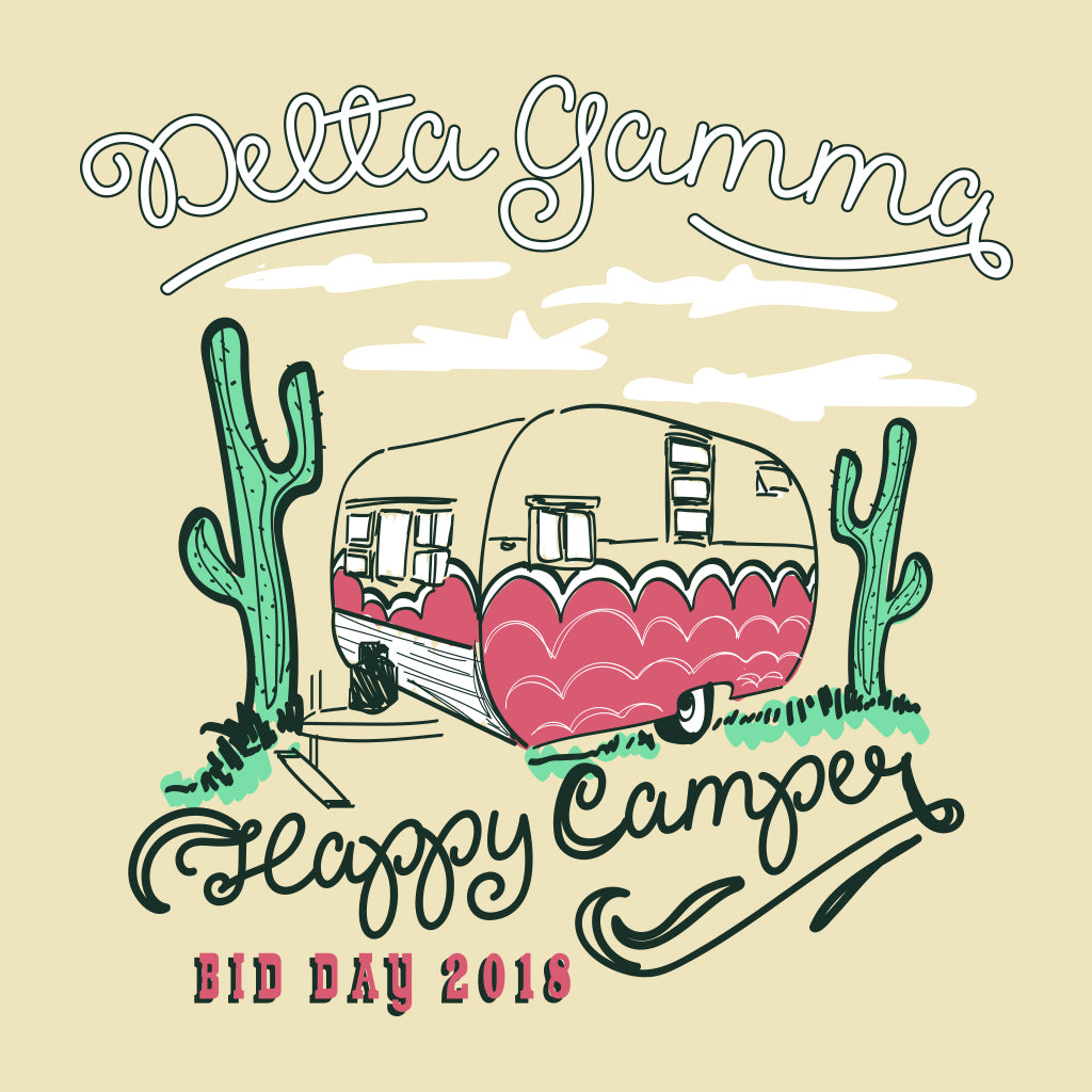 Delta Gamma Happy Camper Bid Day Design