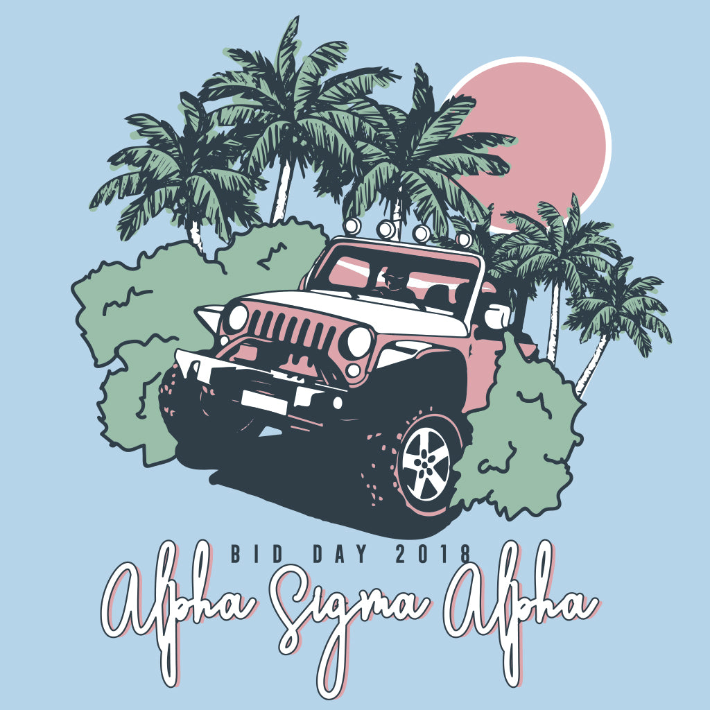 Alpha Sigma Alpha Jeepin' Bid Day Design