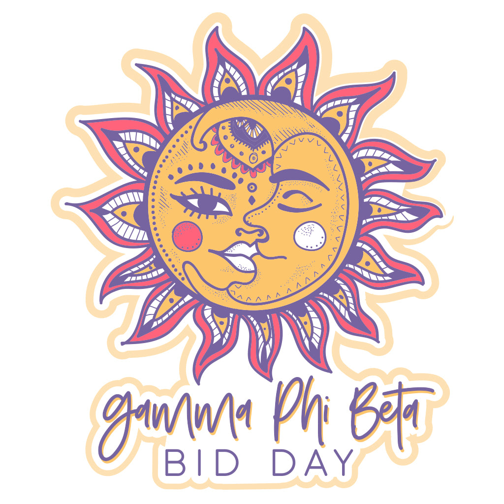Gamma Phi Beta Sun and Moon Bid Day Design