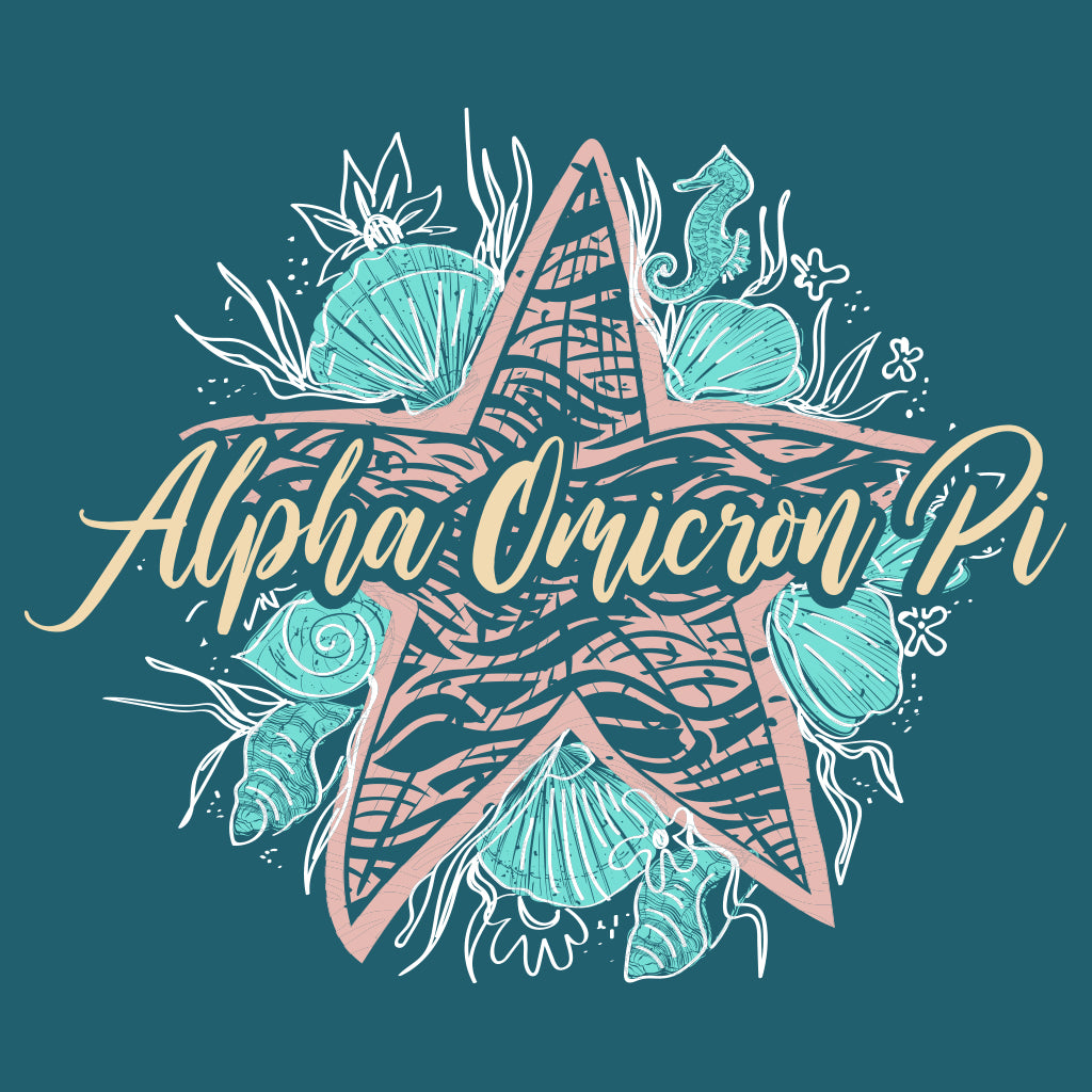 Alpha Omicron Pi Starfish Beach Theme Design