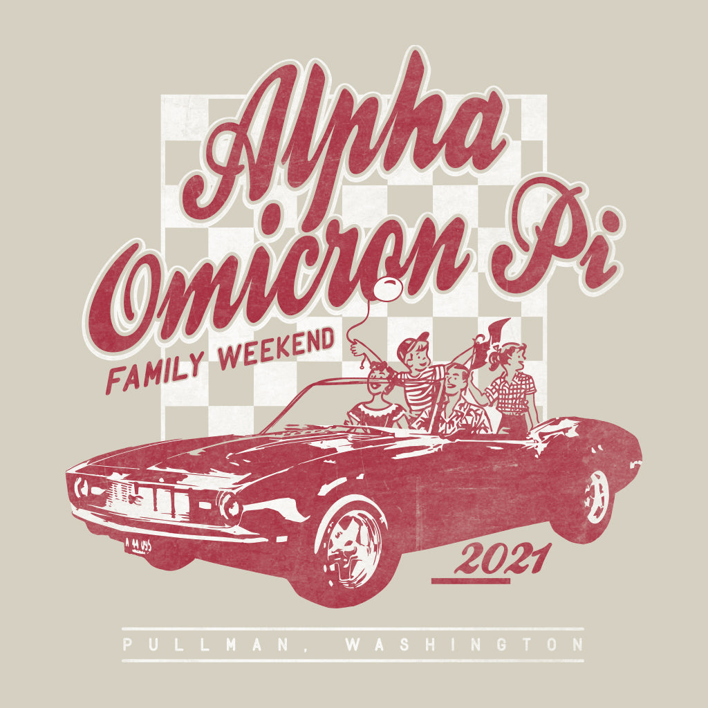 Alpha Omicron Pi Retro Family Weekend Design