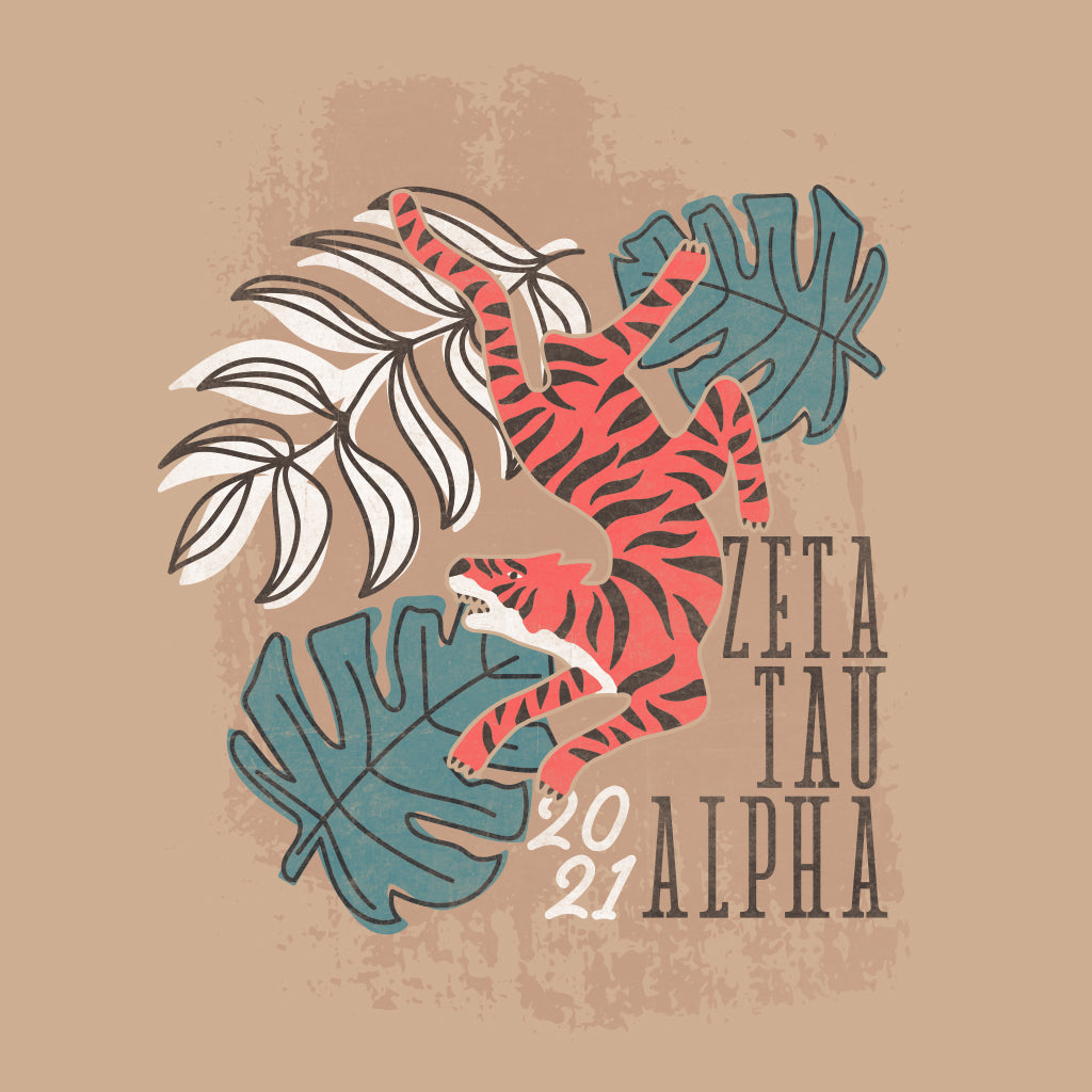 Zeta Tau Alpha Tropical Tiger Design