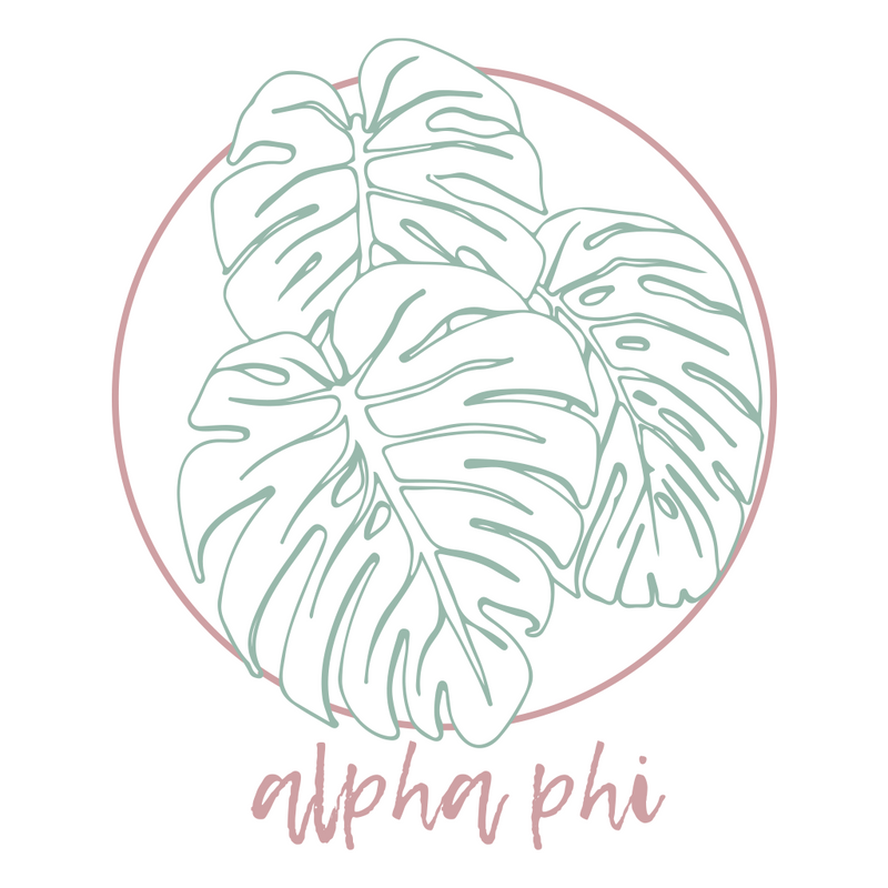 Alpha Phi Palm Leaf Design
