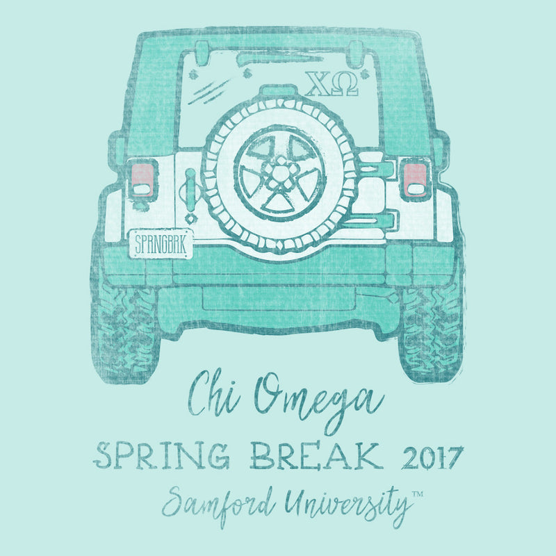 Chi Omega Spring Break Jeepin' Design