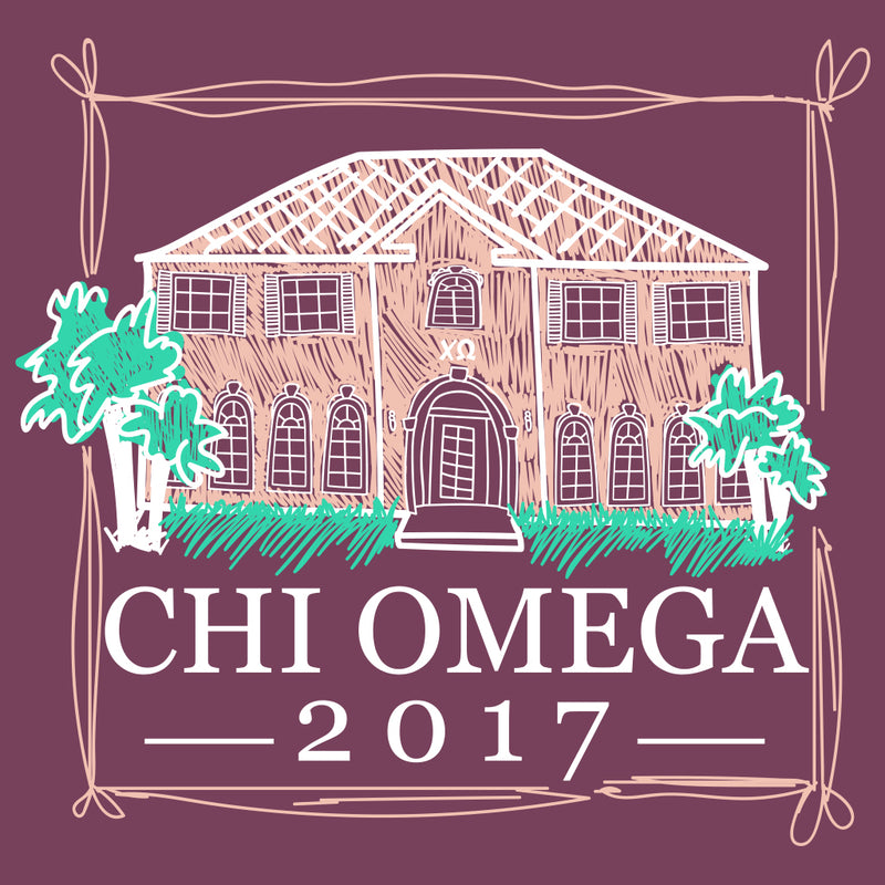 Chi Omega Hand Drawn House Design