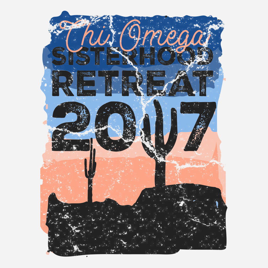 Chi Omega Distressed Desert Sisterhood Retreat Design