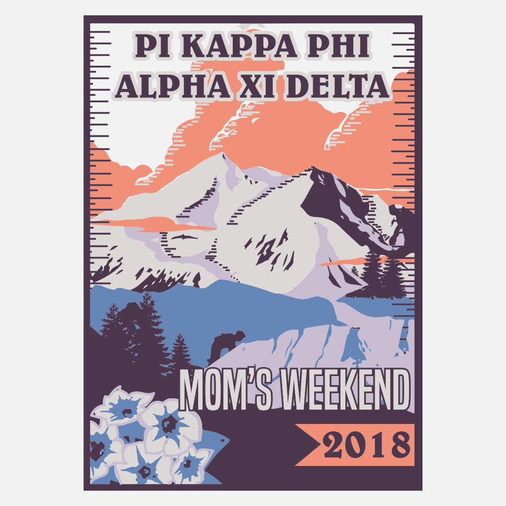 Pi Kappa Phi and Alpha Xi Delta Mountain Mom's Weekend Design
