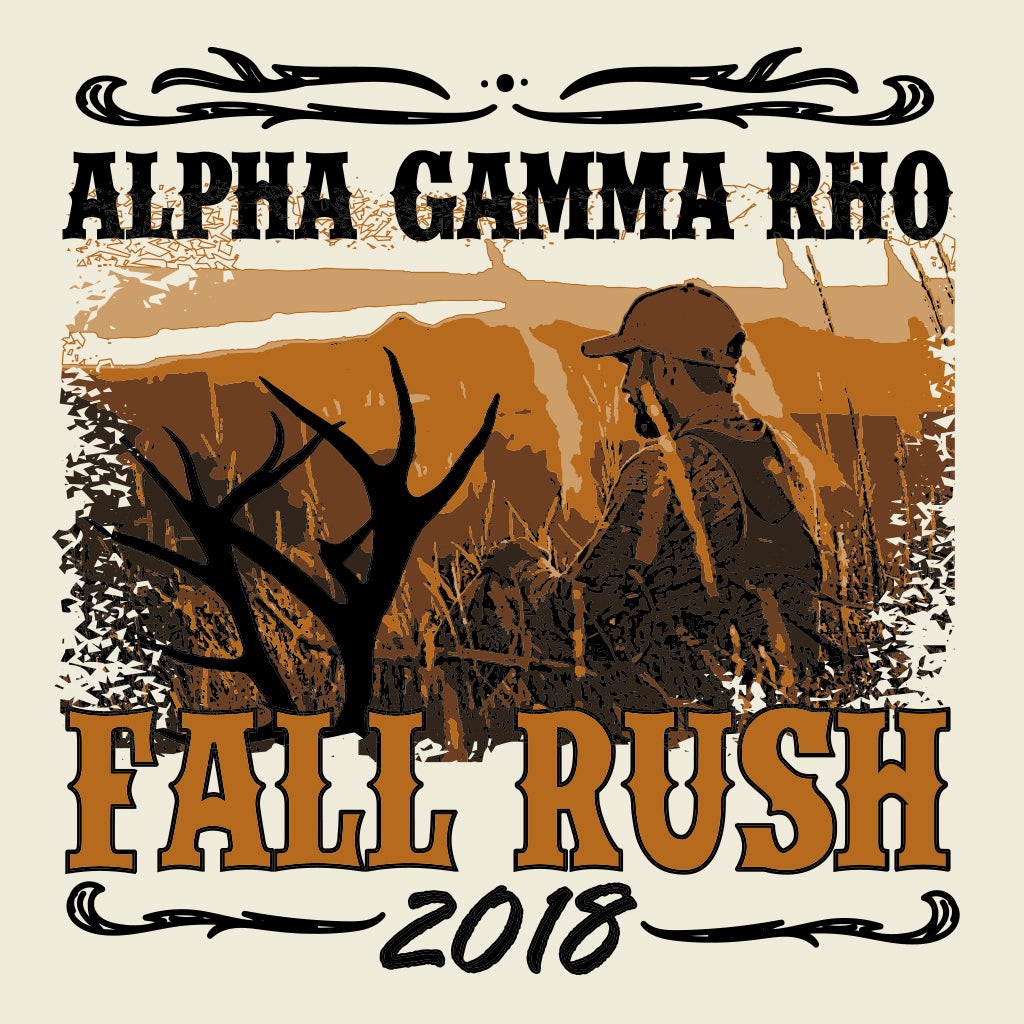 Alpha Gamma Rho Hunting Fall Rush Design