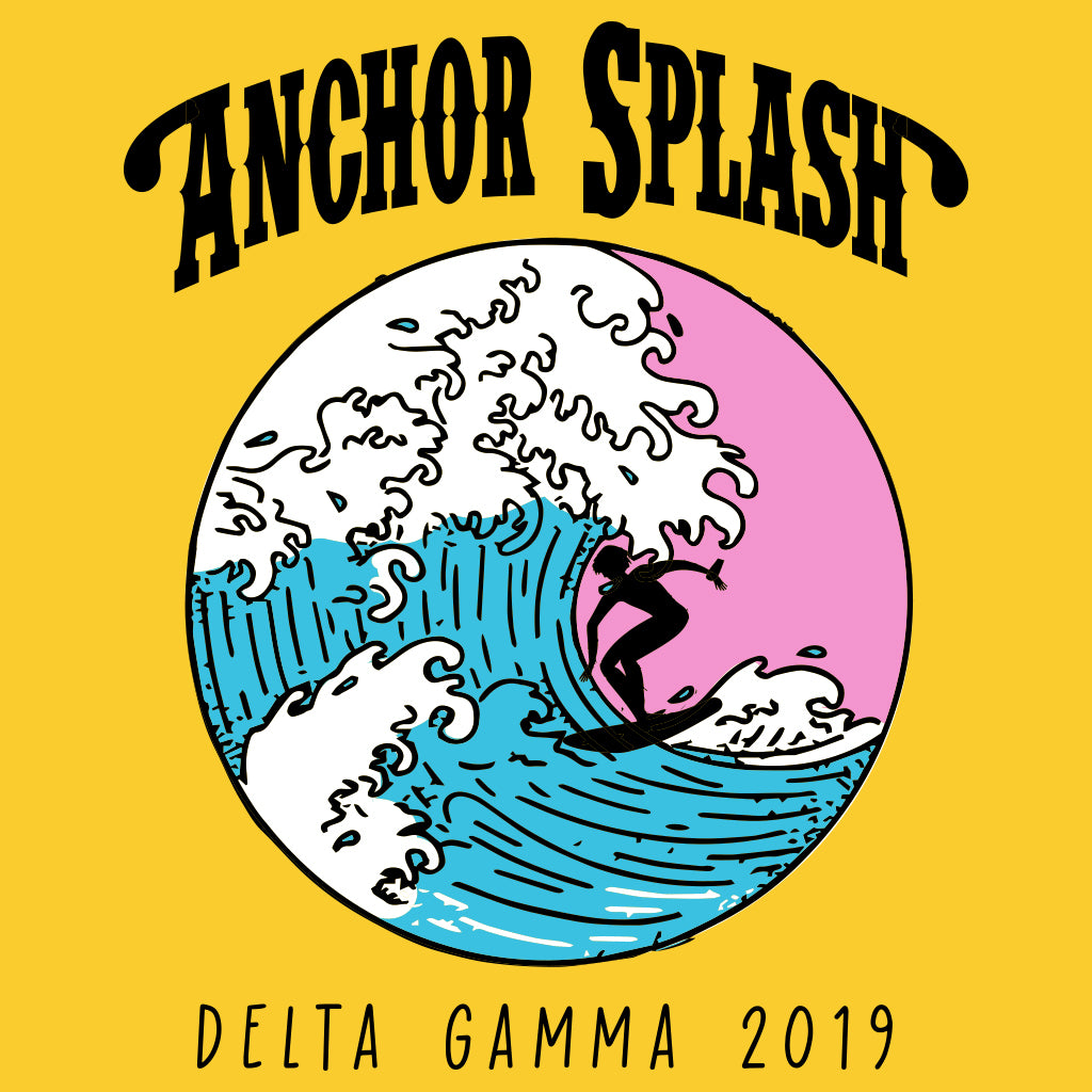Delta Gamma Anchor Splash Vintage Surfer Design