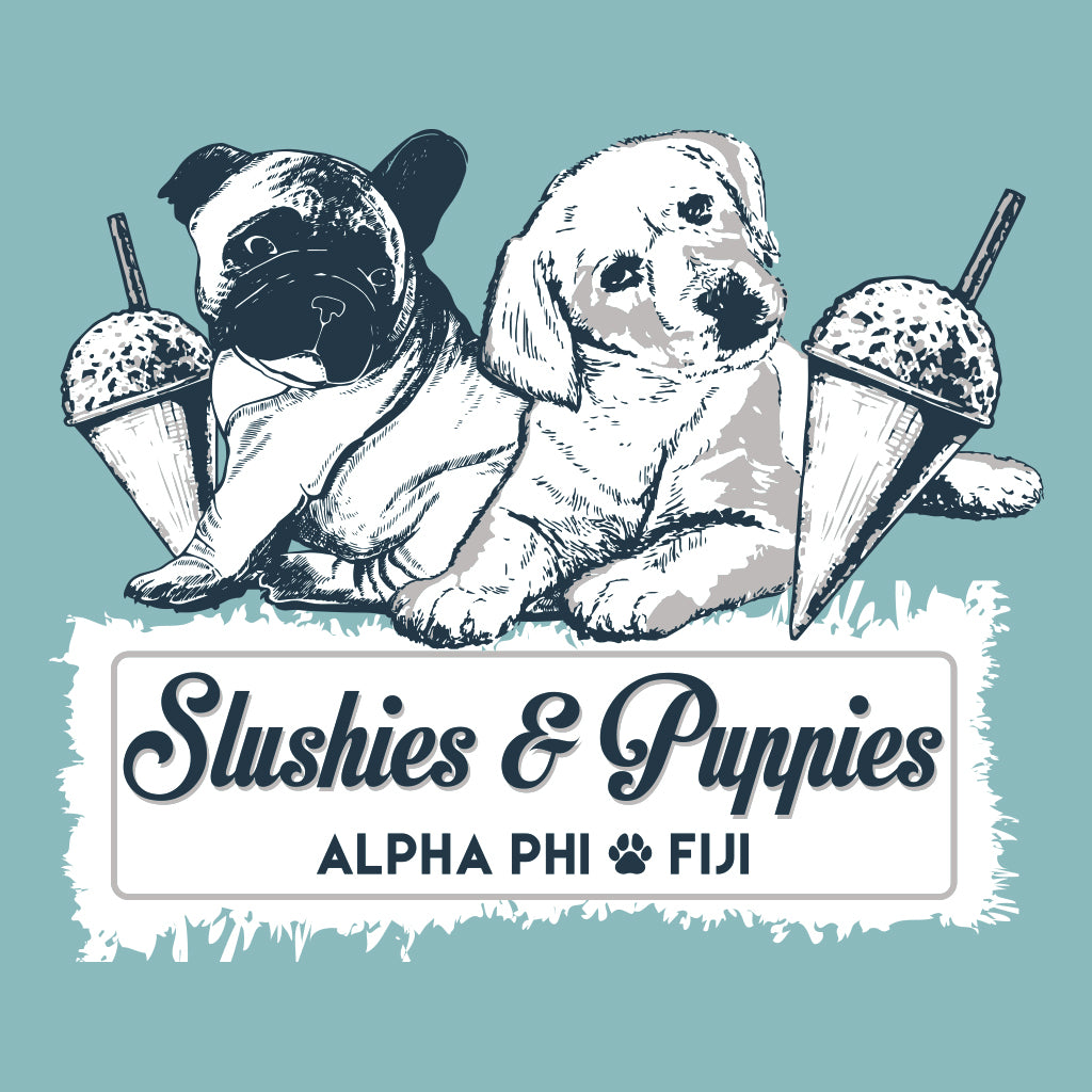 Phi Gamma Delta and Alpha Phi Slushies and Puppies Design