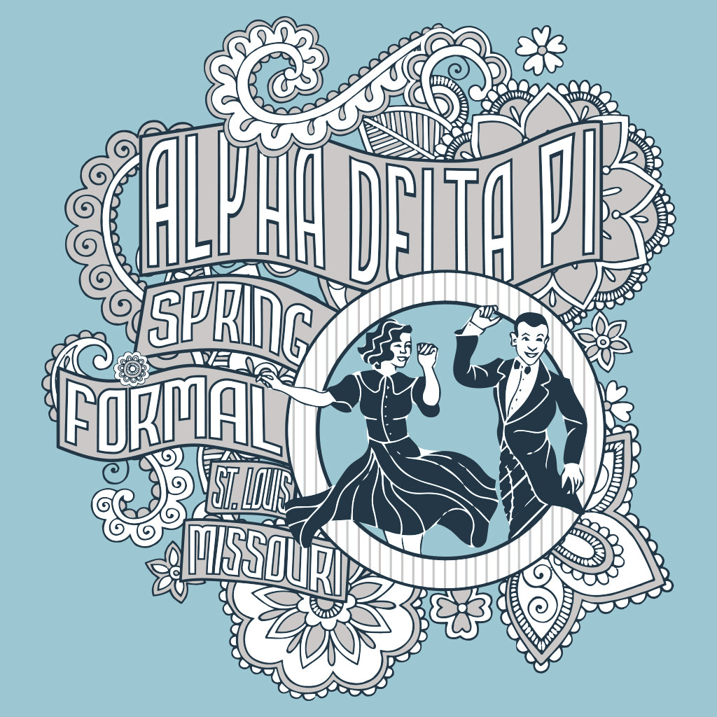 Alpha Delta Pi Vintage Dancing Formal Design