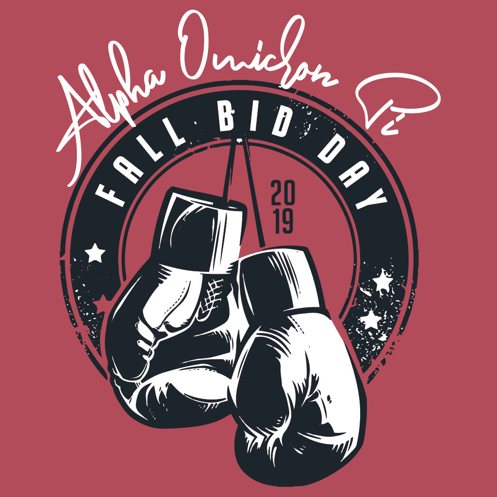 Alpha Omicron Pi Boxing Bid Day Design