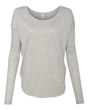 Bella + Canvas Women's Flowy Long Sleeve Tee with 2x1 Sleeves 8852 (Available in 6 Colors)