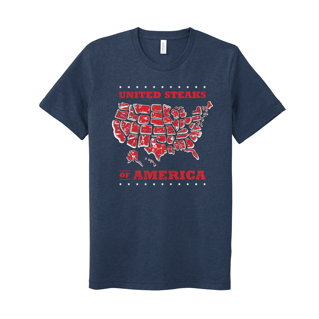 United Steaks of America S2 - Unisex T-Shirt (Heather Navy)
