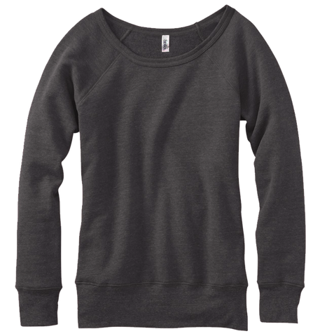 Bella + Canvas Ladies Slouchy Tri-Blend Fleece-Charcoal