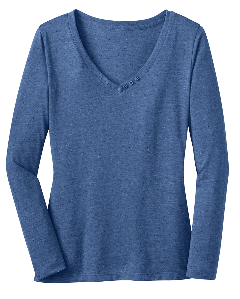District DM472 Ladies Textured Long Sleeve Vee with Button
