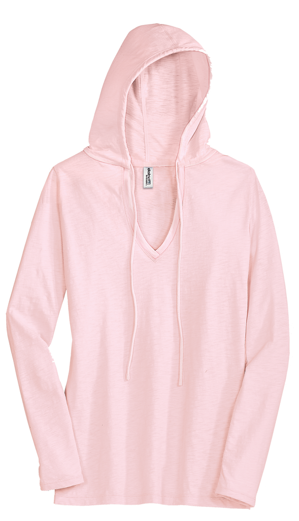 District DT241 Juniors Slub V-Neck Hoodie