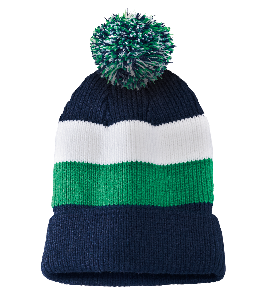 District Vintage Striped Beanie with Removable Pom