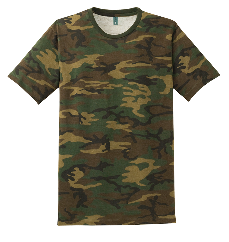 District DT104C Perfect Weight Camo Crew Tee