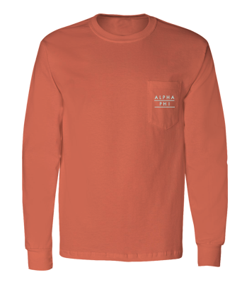 Alpha Phi Simple Long Sleeve Pocket Tee
