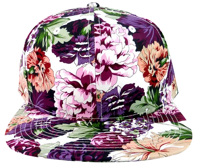 Purple Multicolor Floral Snapback