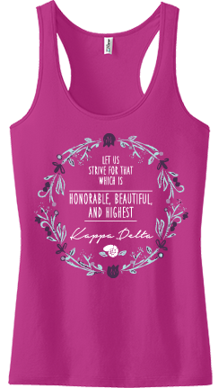 Kappa Delta Honorable, Beautiful, and Highest Spring Tank