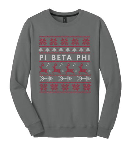 University of Idaho Pi Beta Phi Christmas Sweaters 2015 Crewneck in Grey