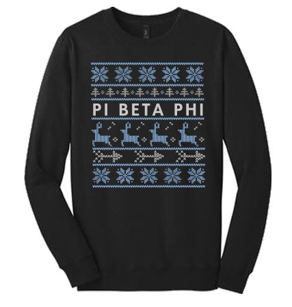 University of Idaho Pi Beta Phi Christmas Sweaters 2015 Crewneck in Black
